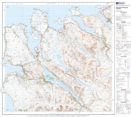 OS Landranger 019 - Gairloch & Ullapool, Loch Maree - FLAT Rolled in a Tube
